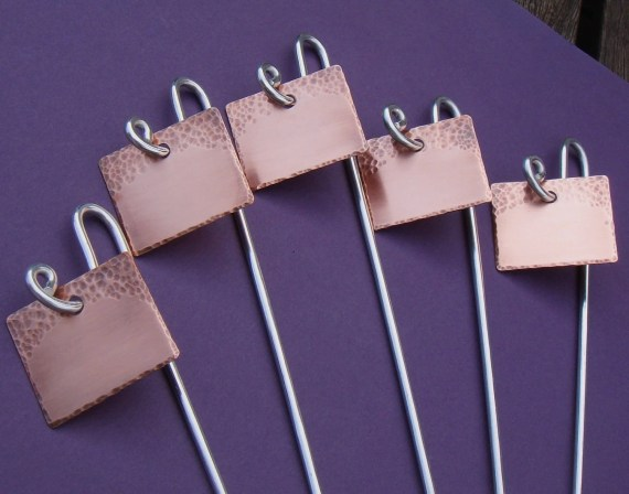 Garden Markers - Copper - Simply Stated - Set Of Five - CUSTOM Hand Stamped - dillybags
