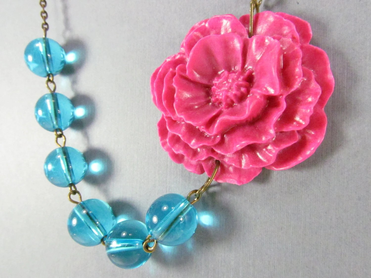 Flower Necklace, Hot Pink Cabbage Rose with Clear Blue Glass Beads, Brass Swallow, Bridesmaid Necklace - ElmasBox