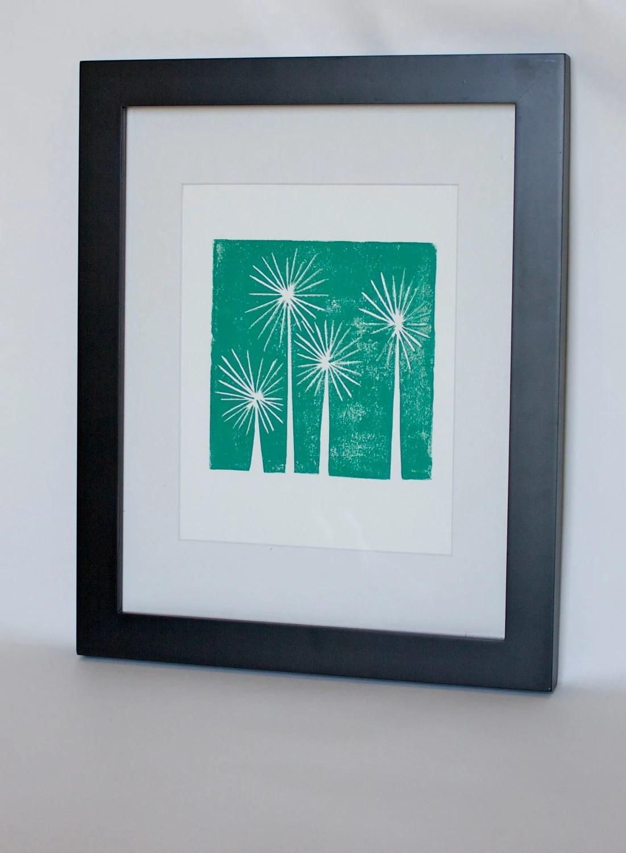 Teal Trees Mid Century Modern Art linocut print 8x10 - RetroModernArt