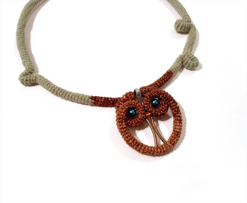 Exotic Crochet Necklace Brown Owl - Olive Green Cable Choker - vanessahandmade