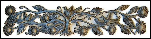 """Birds and Flowers Haitian Recycled Steel Drum Metal Wall Hanging - 8"""" x 34""""-JJ-610"""