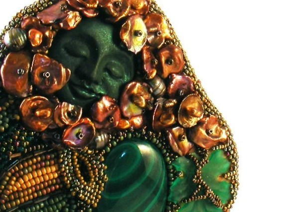 Beaded Embroidery Necklace Green Man Dreams - DownstreamDiva