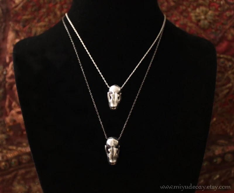 Sterling Silver Bat Skull Charm with Stering Silver Chain
