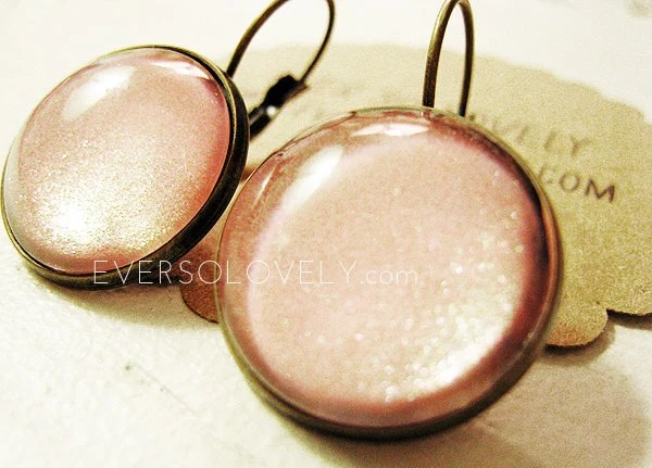 cotton candy pink earrings brass nickel free earrings - sparkly lever back dangle earrings