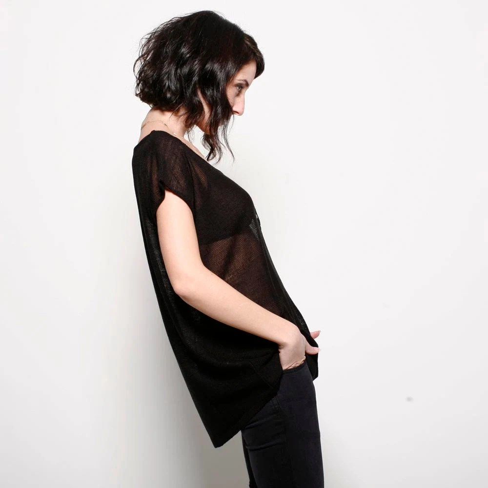 Buy 2 get 1 free sale- Black knitted woman blouse, one size fits all, round neck with shell buttons - AndyVeEirn