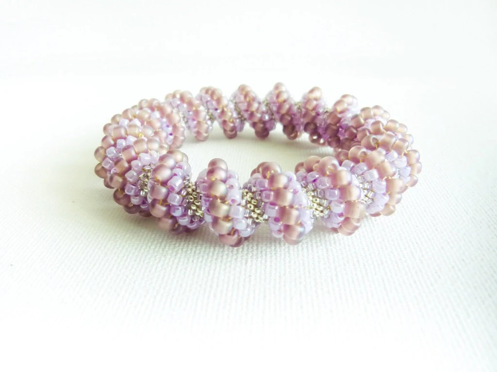 Wedding beaded bangle. Bridal honeysuckle Cellini spiral bracelet, Rustic wedding, Light purple, pearly, silver, romantic, tbteam - CallOfEarth