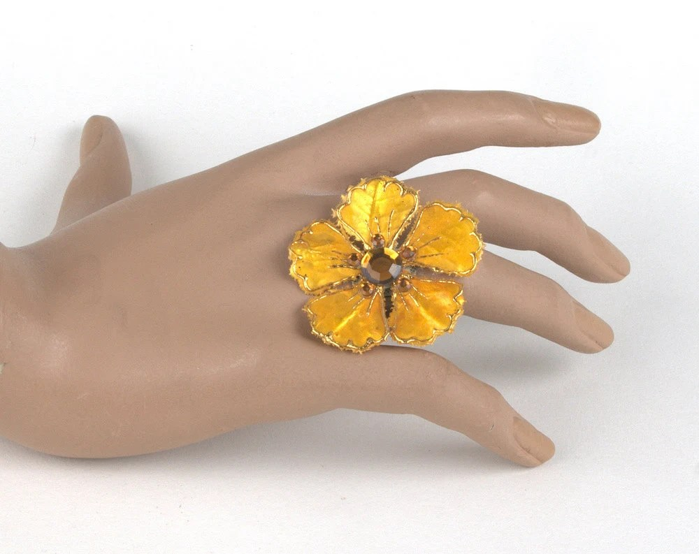 Mustard Yellow Flower Ring with Crystal Accents - BlackMagicStudio