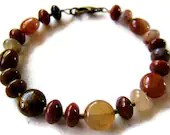 Agate gemstone bracelet in autumn colors - red, chocolate, honey, pink, bear brown - ElephantBeads