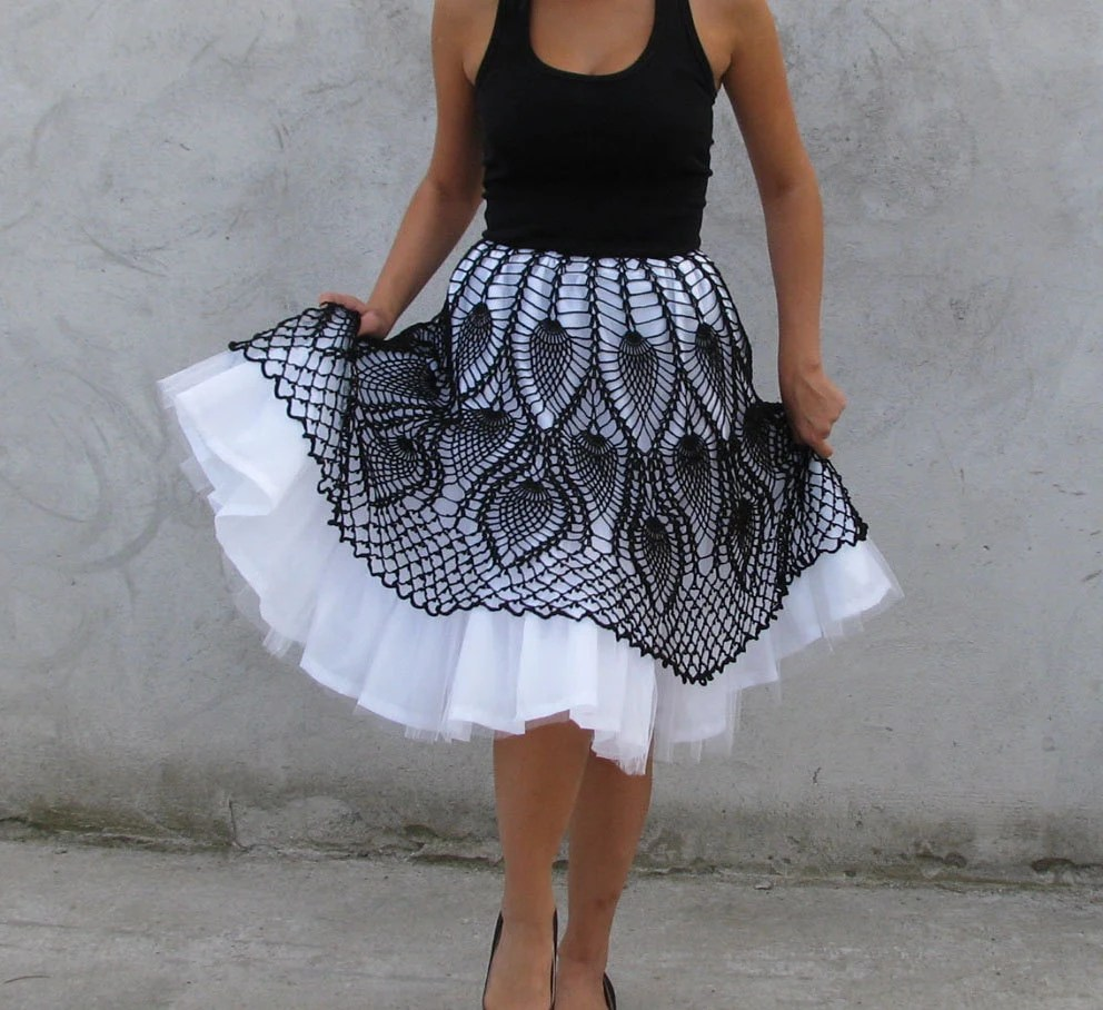 Unique Tutu crochet  Skirt  Black and white XS,S,M,L - kovale