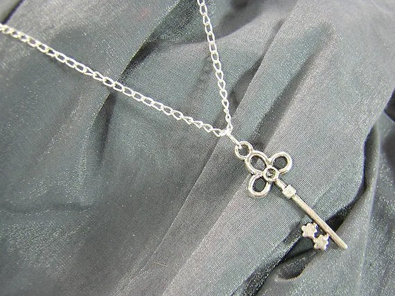 Silver Key on Silver Chain Simple Charm Necklace - Handmade by Rewondered D225N-00512 - $7.95