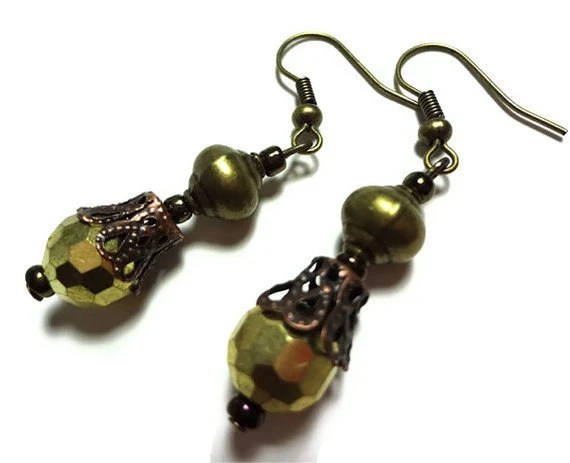 Gold and Bronze Earrings - Glamour365