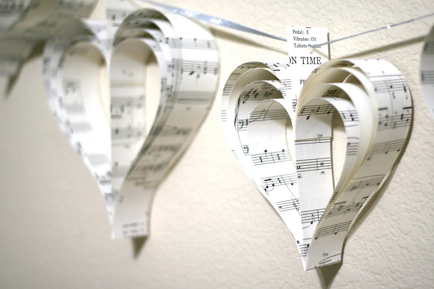 Garland Shabby Chic Paper Heart Garland-Paper Hearts  PICK YOUR COLOR(S) - aubabi78