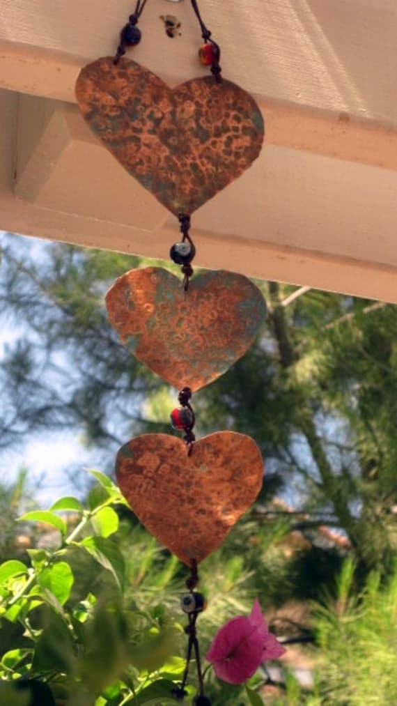Hammered Copper Heart PERSONALIZED Available Hanging Art with Glass bead Accents Whimsical - jodybrimhall