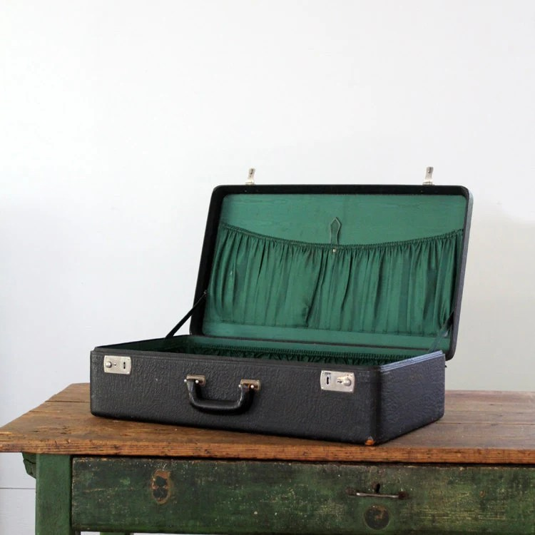 Vintage Suitcase // Black Leather Luggage - 86home