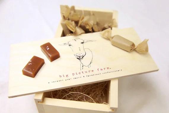 Wooden Gift Box -- Farmstead Goat Milk Caramels