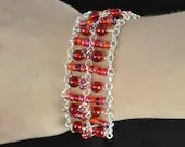 Firey Red Beaded Bracelet on Silver Chain