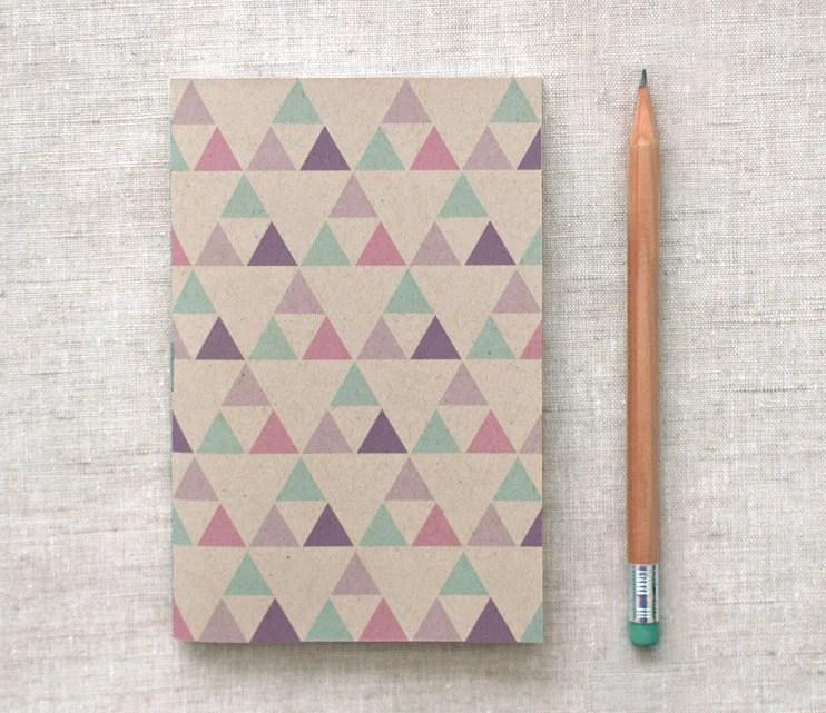 Eco Friendly Mini Notebook, Sketchbook - Geometric Patterns, Purple, Green, Triangles - Back to School - HappyDappyBits