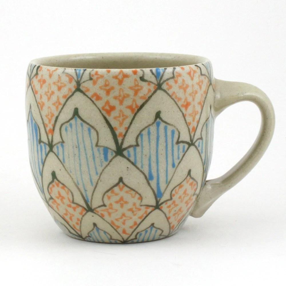 Teacup - Ceramic Mug - Espresso Mug with Dark Green, Turquoise and Orange Pattern