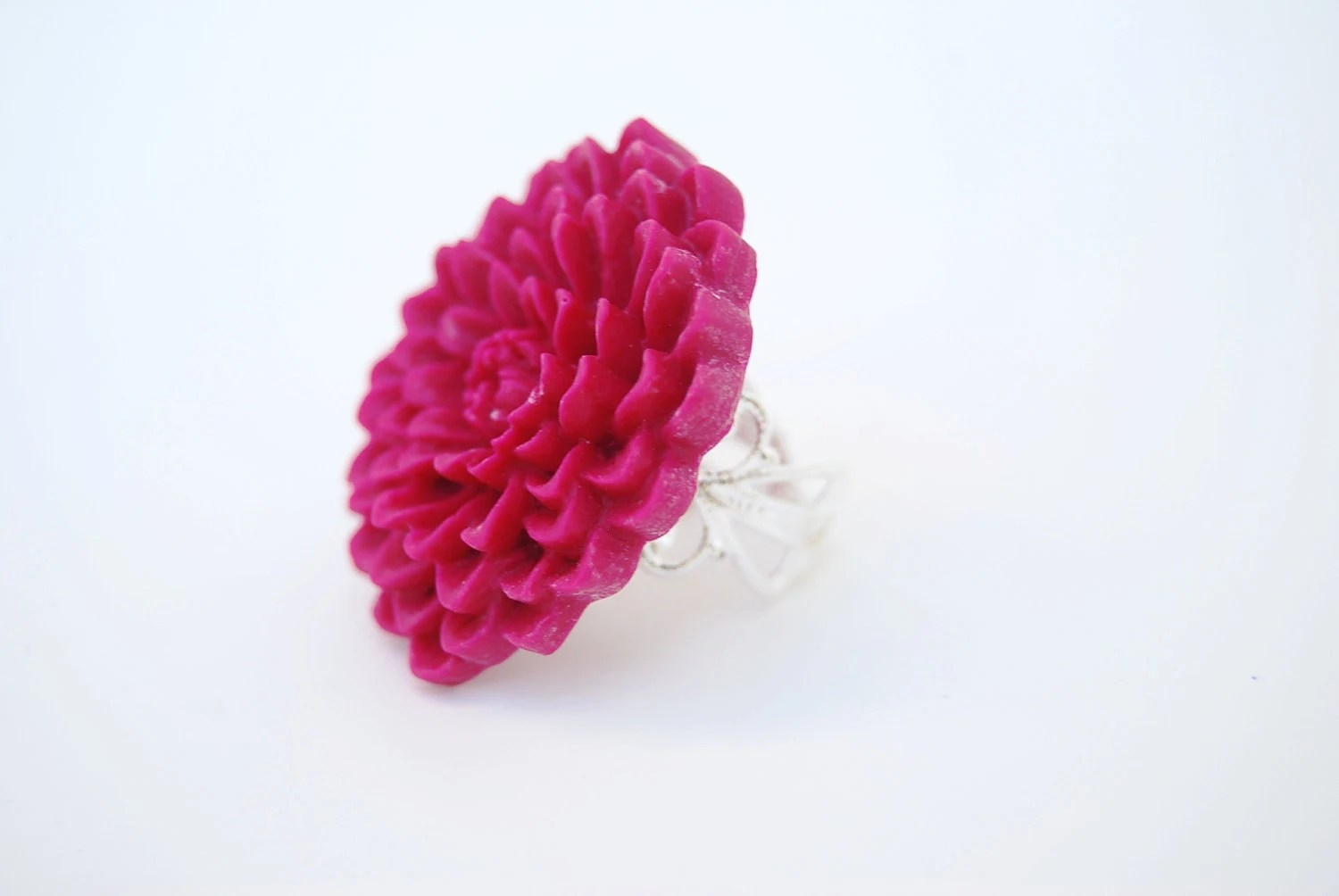 Resin Flower Ring, Raspberry, Pink Flower Ring, Adjustable Ring - PetalPusherbyLaurel