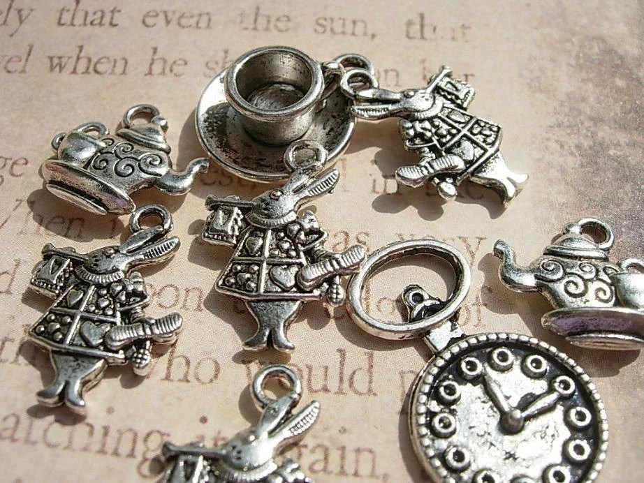 8 Mixed  Alice in  Wonderland Charm Drops - White Rabbit D.I.Y. Pocket Watch TeaPot Silver finish