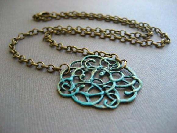 Faux Verdigris Patina Scroll Pendant Necklace with Antique Bronze