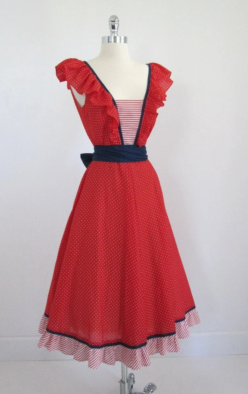 Vintage 70's 80's Cute Nautical 4th Of July Pinup 40's Style Pinafore Wrap Dress L