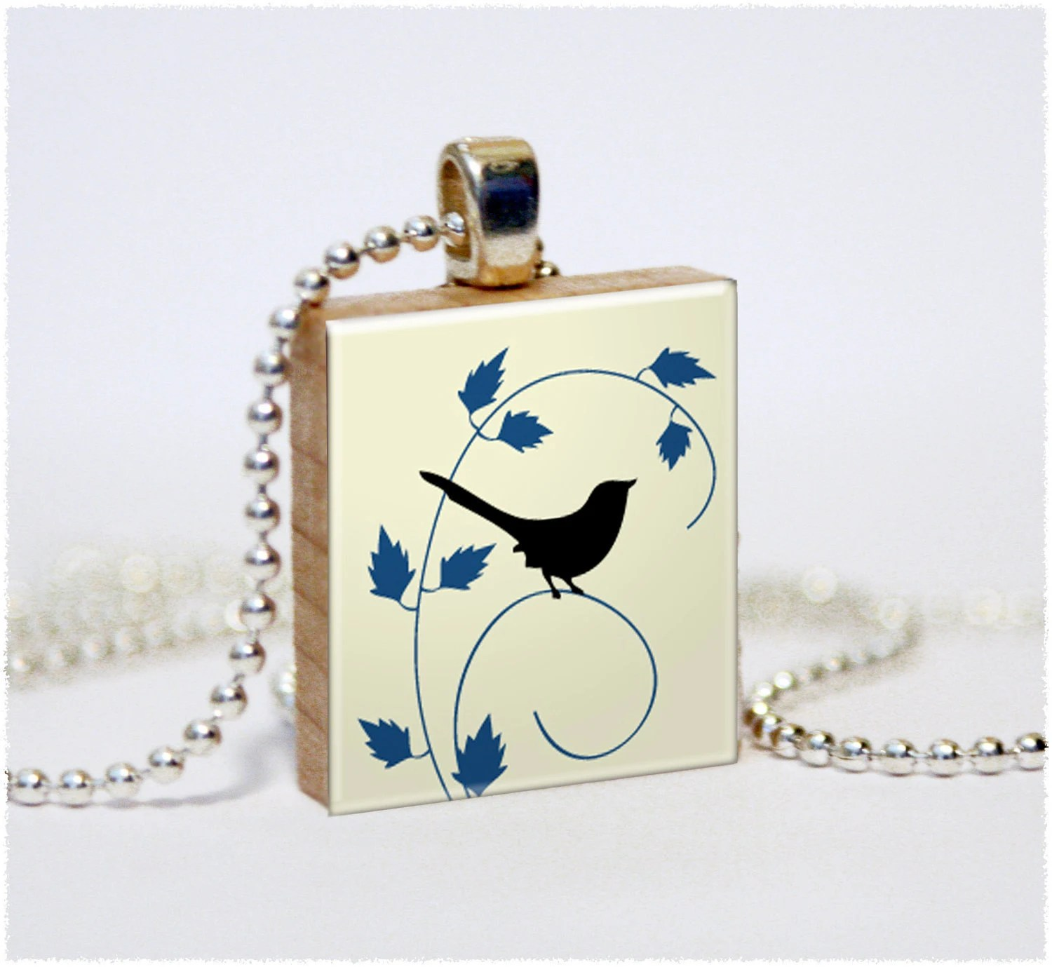Little Birdy (Black and Blue)- A Unique Scrabble Game Tile Art Pendant- All Individually Handmade by The Trendy Trinket - TheTrendyTrinket