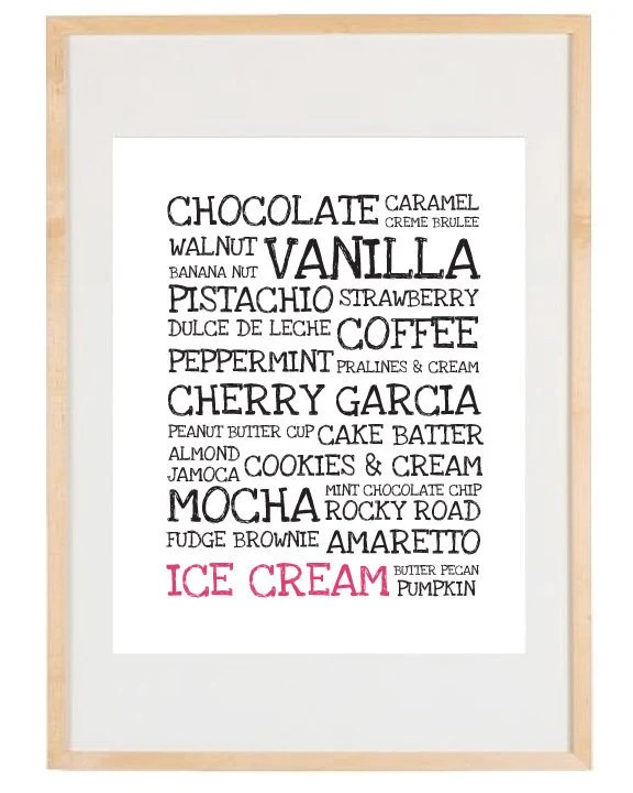 Kitchen Decor - Ice Cream Flavors - 8.5x11 and 8x10 Print - Digital Illustration Poster - Kitchen Art