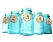 Antique Blue Mason Jar Flower Vase Centerpieces - Set of 5 - TheCountryBarrel