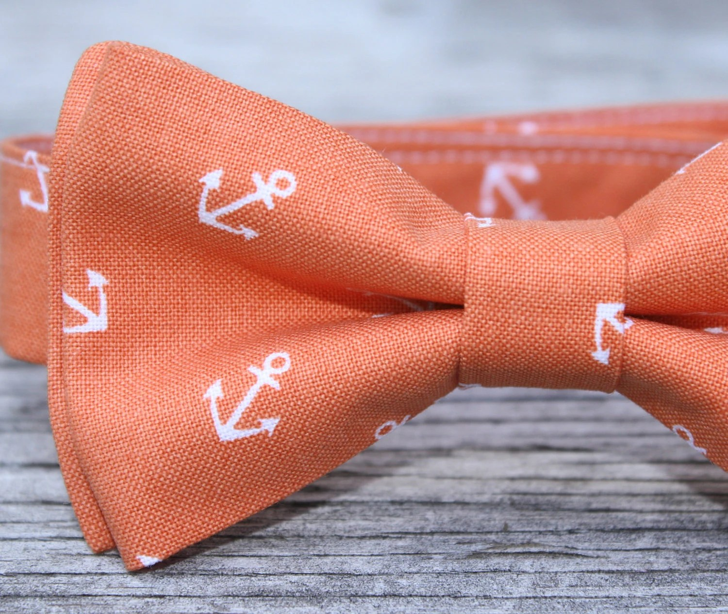Boys Bow Tie in Orange Nautical Anchors - littlevys