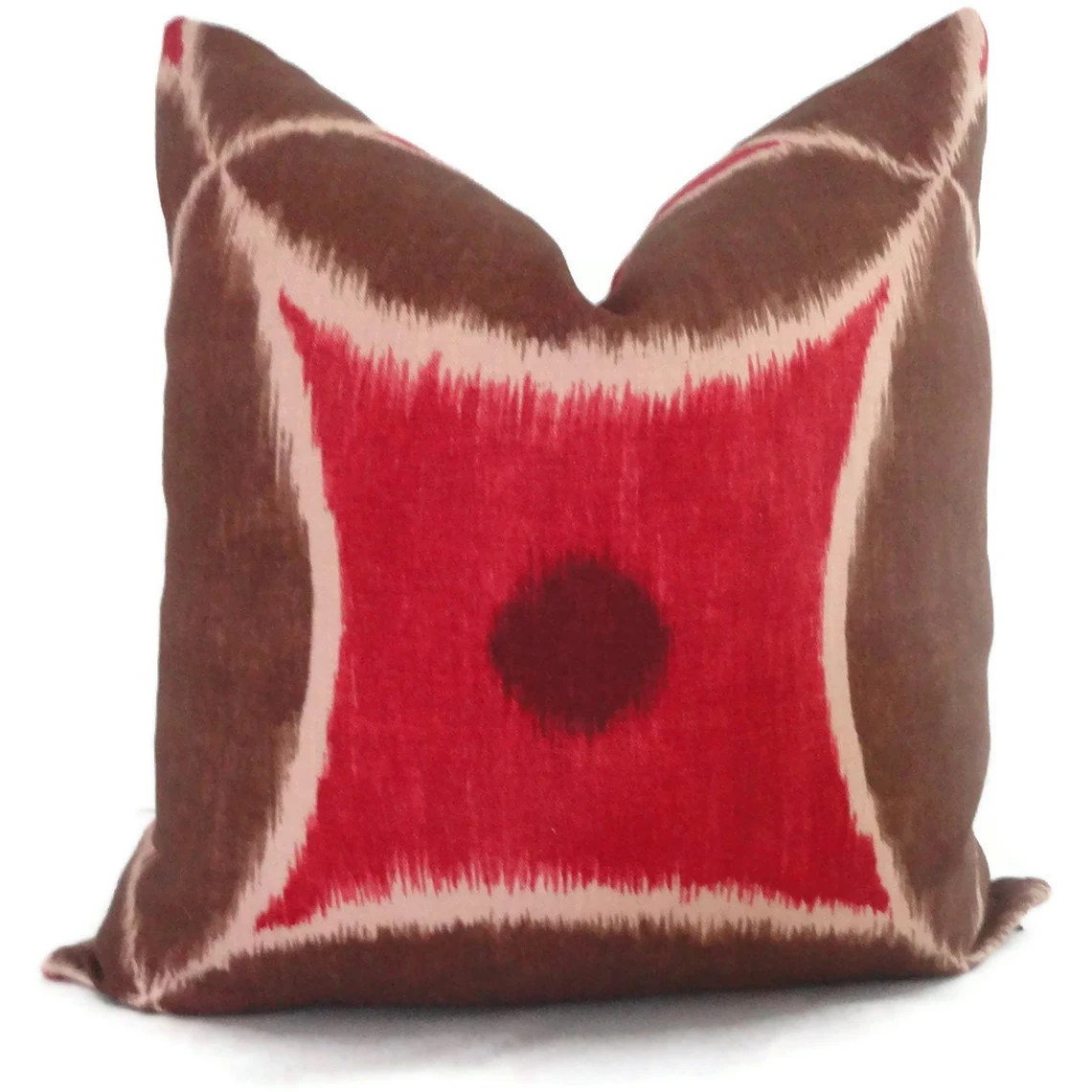 SALE Duralee Red and Brown Ikat Decorative Pillow Cover 18x18, 20x20 or 22x22, Accent Pillow, Throw Pillow, Pillow Case - PopOColor