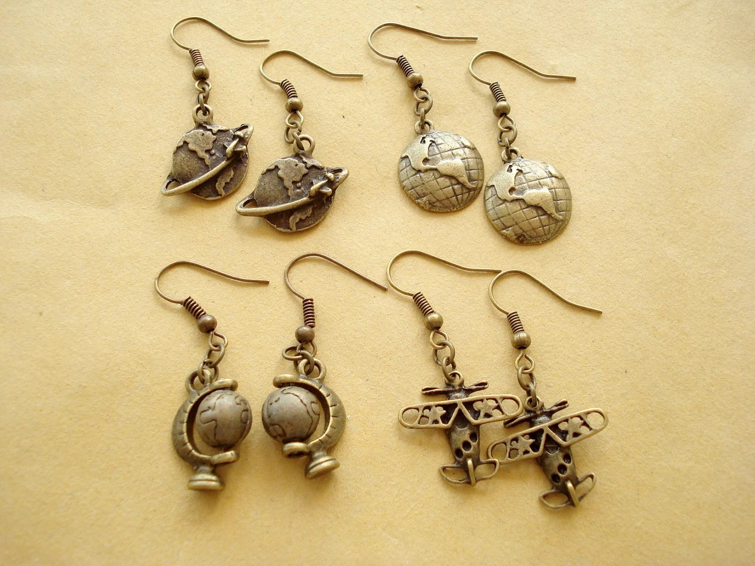4 Pairs of Around the World Earrings / Antiqued Bronze