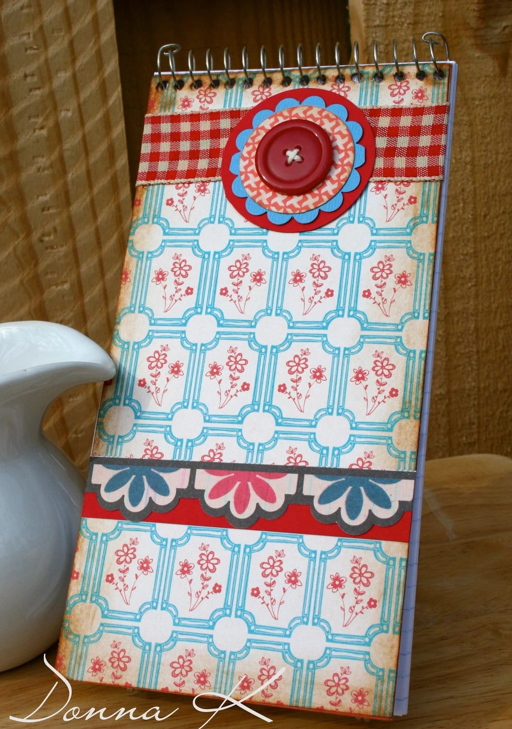 Floral Note Pad with Vintage Style Papers red button gingham ribbon - Teacher Appreciation