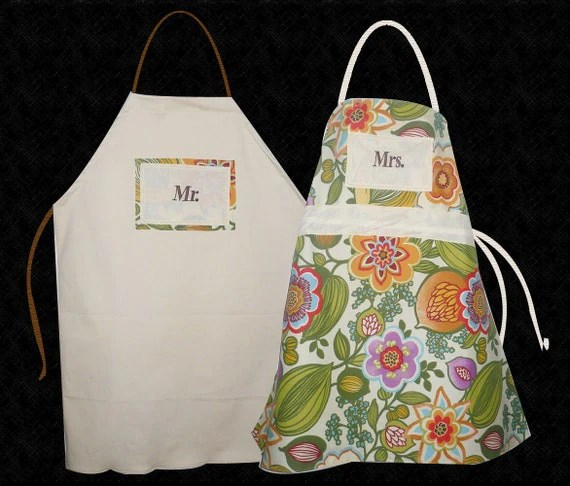Matching Couple Aprons for Mr. and Mrs.