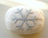 White Felted Soap with Sparkly Snowflake Design - FishHollow