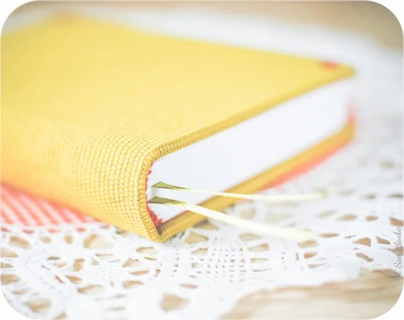 Yellow covered medium handmade notebook (diary, journal) - valentines day - Buntmal
