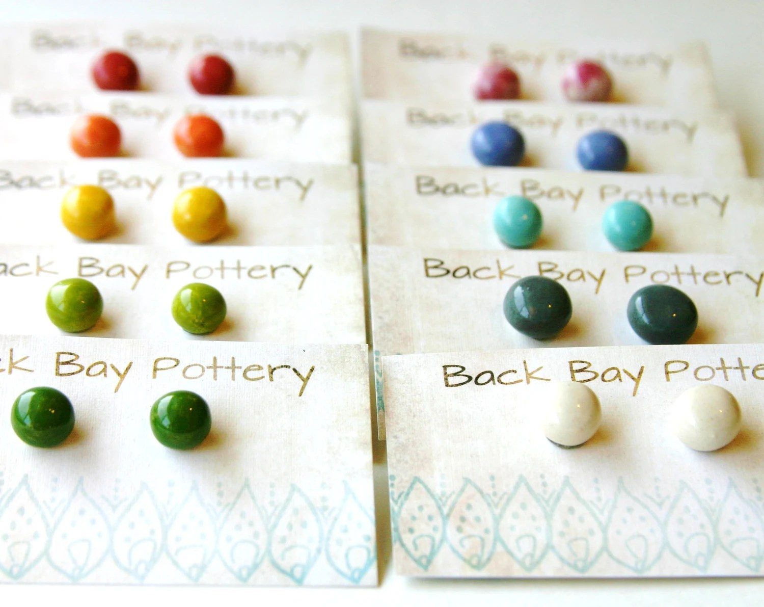 Simple Ceramic Stud Earrings - Set of 2 - Choose Your Colors - 32 Colorful Choices - Ready to Ship - BackBayPottery