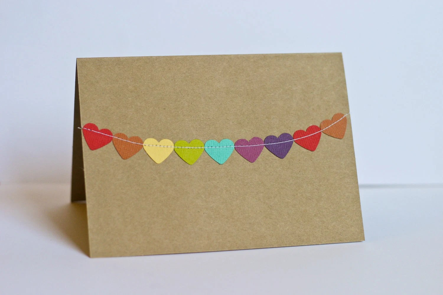 Valentines Cards Heart Bunting Flag Stationery - RainyDayColors