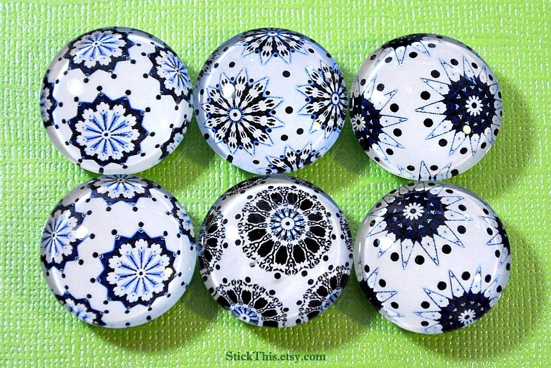 Black, Blue and White Kaleidoscope Lace Flower Glass Fridge Magnets, Office Magnet, Kitchen Magnets - StickThis
