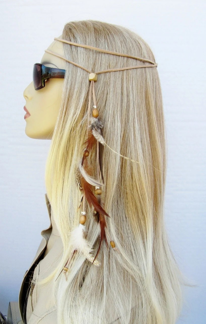 TINY DANCER hippie headband feathers suede