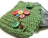 Crochet Kindle Case- Kindle Cover- Buttons Flowers - knitella2011