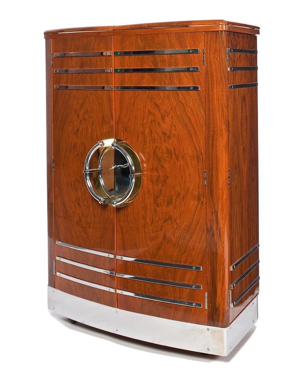 Classic 30's Walnut & Chrome Art Deco Bar in Pristine Condition