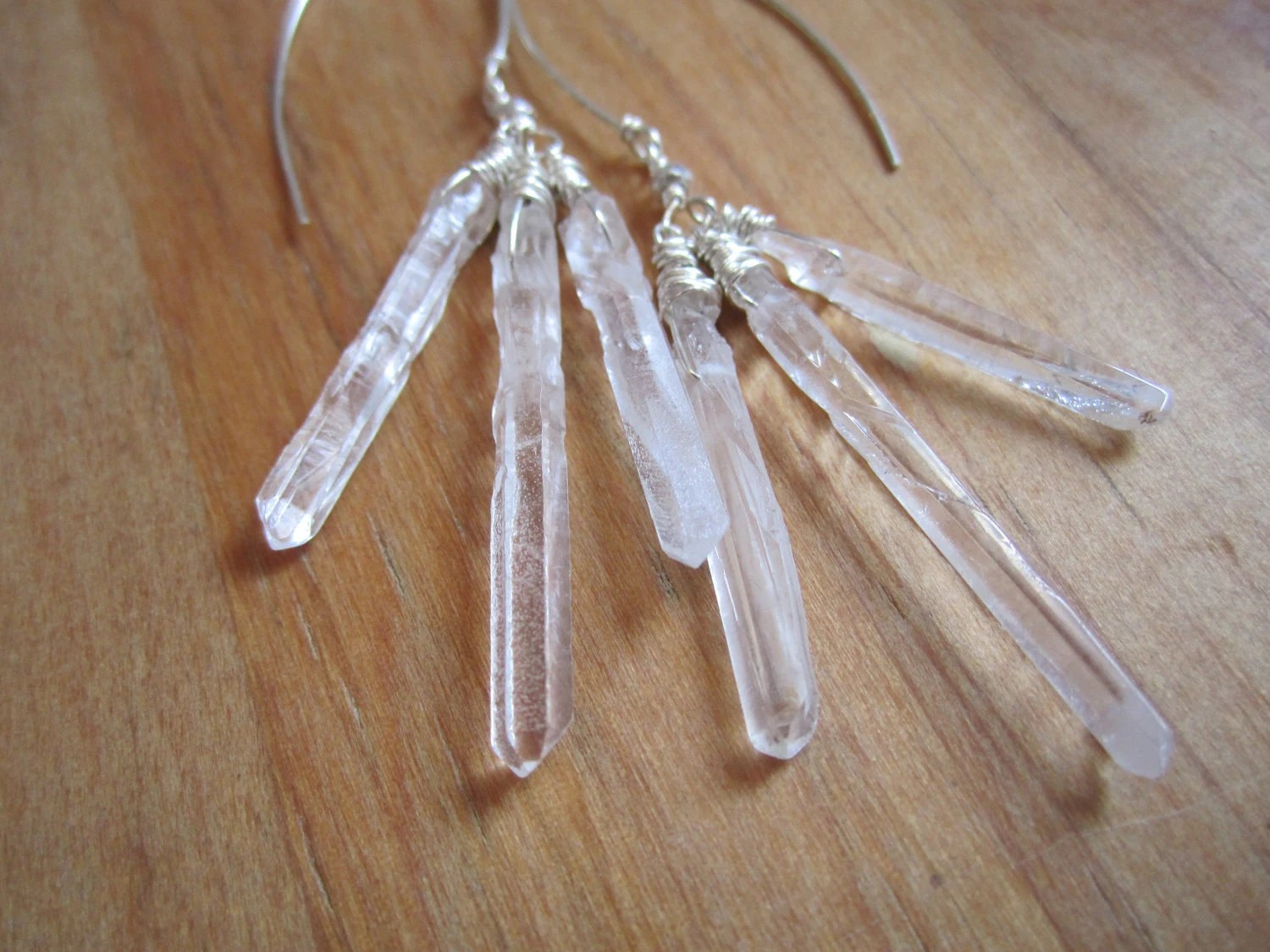 Spirit . Raw Crystal Quartz Earrings - MicheleMolesky