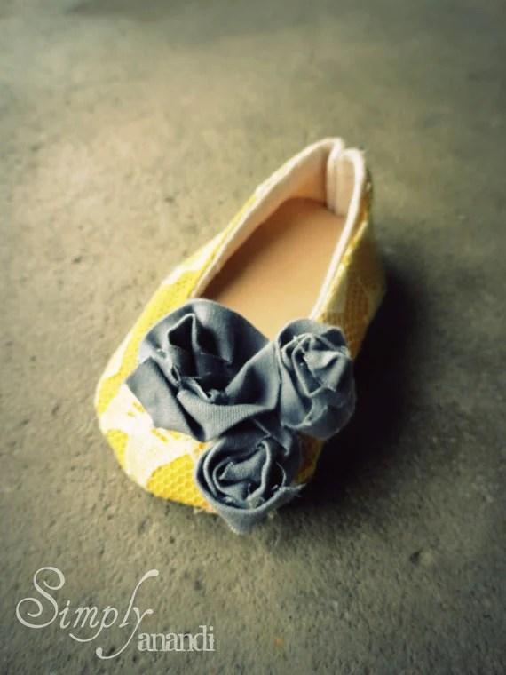 Baby Girl Shoes--Summer--Vintage lace mustard yellow and gray Ballet Flats for baby--available in sizes infant through toddler