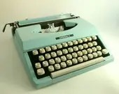 SALE - Vintage manual typewriter turquoise / aqua blue  - Imperial