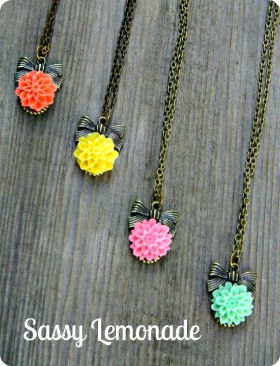 Lisa Loves her Chrysanthemums wrapped up in a Bow Necklace On Sale