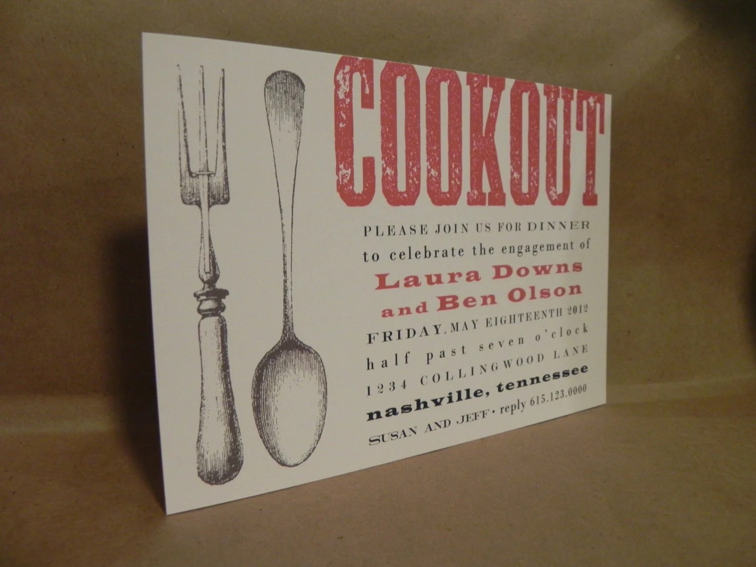 Cookout / BBQ Party Southern Supper Rehearsal / Engagement Dinner Fork and Spoon Invitation - DarbyCardsNashville
