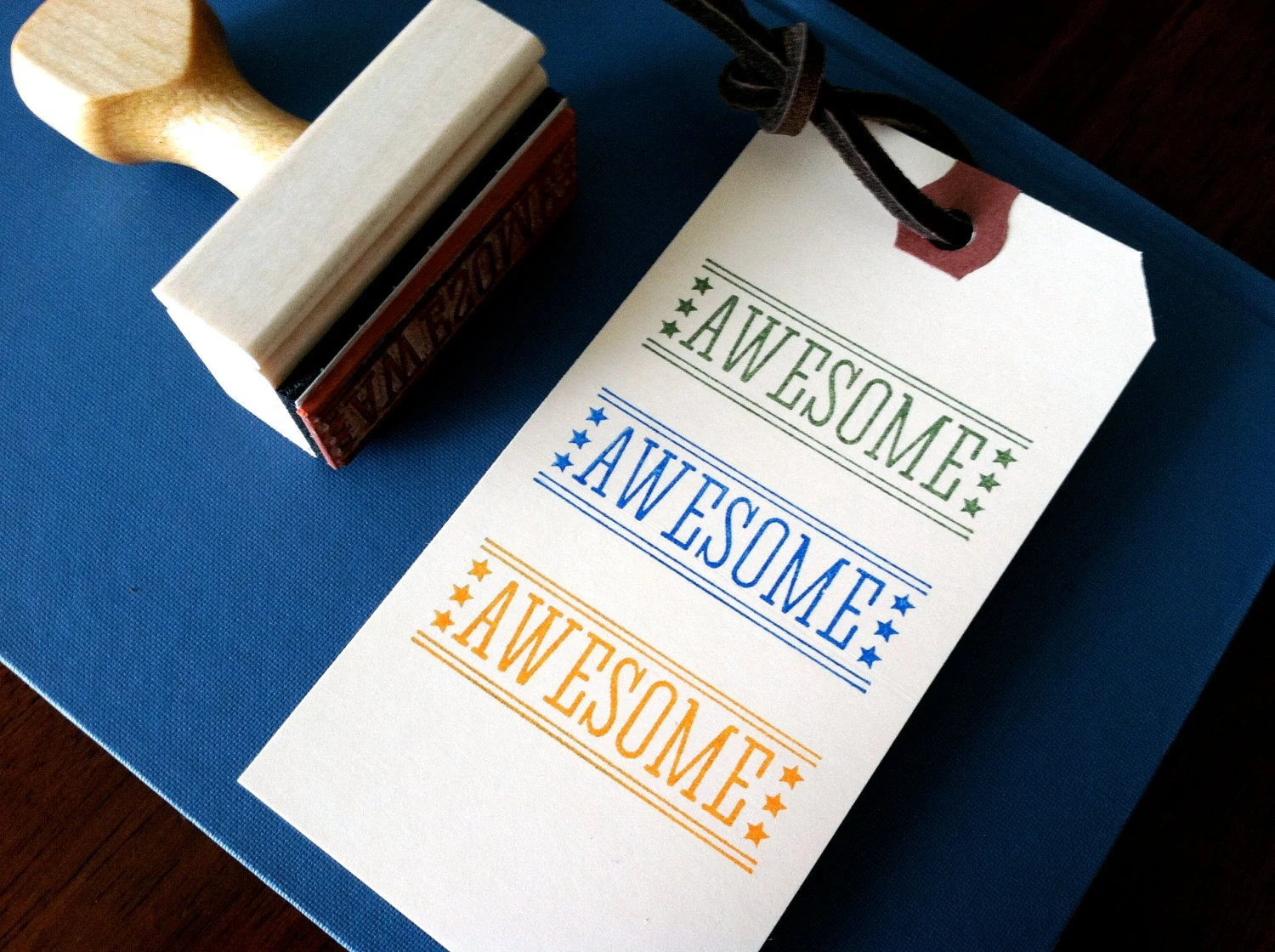 Awesome // Wooden Handle Rubber Stamp- MultiPurpose - anthonycarillo