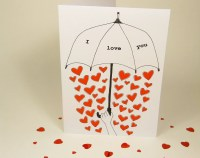 Valentines Day card - Love umbrella card - i love you - hand drawn - black and red - blank