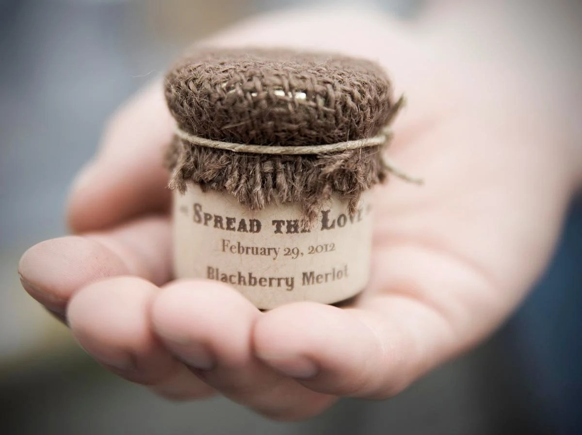 Custom Wedding Favor, Farm House Jam Favors with Burlap Cover 1.5 oz - SweetCarolineJams